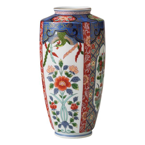 花瓶 陶器【送料無料】鳳凰草花 角花瓶