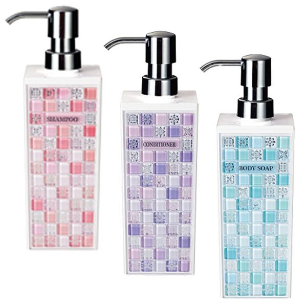 洗发水瓶子饮水机设平方米冲洗护发素身体肥皂浴用品流行可爱时尚 pastorella PK PL BL M 粉彩大方形 3 件套
