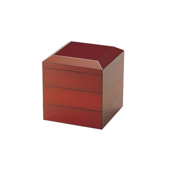 重箱 お重 おせち 3段 4.5寸 無地 四角 木製 日本製 越前漆器 うるし 艶 上品 定番 漆器 漆塗 手塗 高級 正月 弁当 菓子器 【送料無料】面取45三段重 根来 1014904