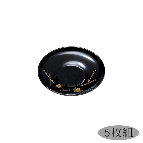 茶托 5枚セット おもてなし 高級 お茶会 緑茶 コースター 日本製 来客 越前漆器 うるし 艶 シンプル 上品 器 漆器 漆塗 手塗 おすすめ 【送料無料】沈金松笠 4.0茶托 黒 5枚組 1005803