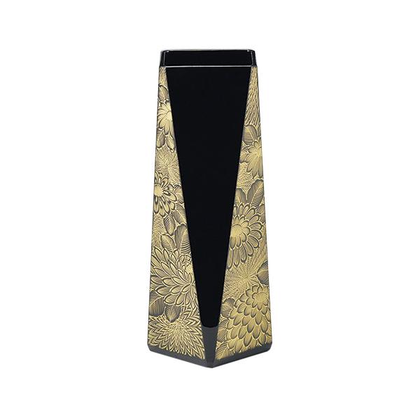 花器 花台 花瓶 GOLD ゴールド ブラック シック ギフト 越前漆器 艶 上品 漆器 木製 漆塗 手塗り 高級 日本製 【送料無料】菊彫 花器 黒 1014002