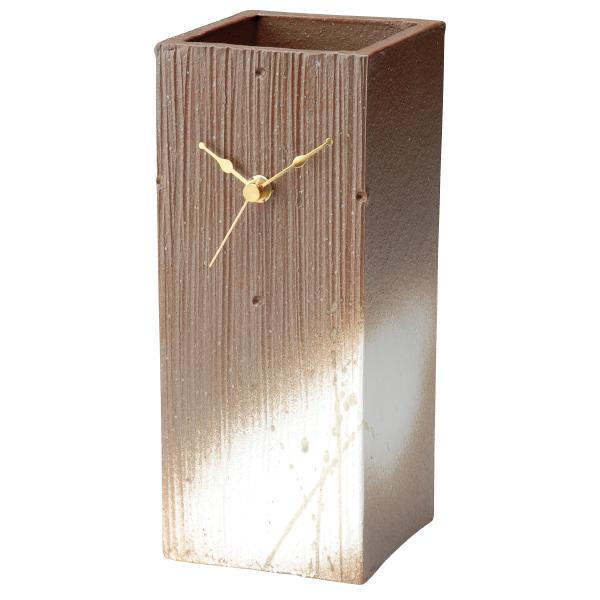 信楽焼 時計 置時計 Clock 四角 長方形 焼物 シンプル 人気 癒し インテリア 高級 シック 素朴 日本製 レッドタワー G5-0408
