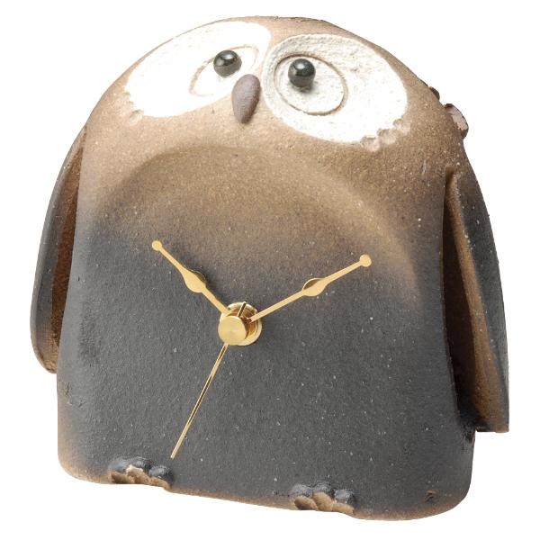 信楽焼 ふくろう アウル 福 縁起物 時計 置時計 Clock 人気 癒し インテリア 高級 シック 素朴 日本製 福朗腹時計 G5-0409