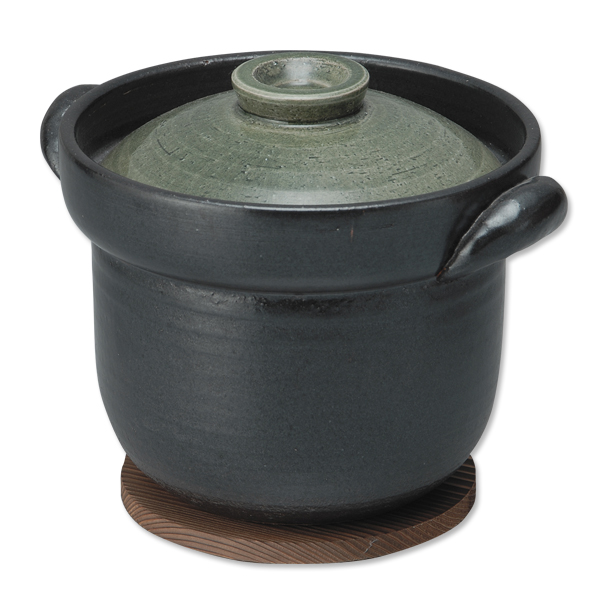 鍋 ご飯 飯炊き鍋 軽量 黒 美味しい 直火 レンジ オーブン おしゃれ 可愛い あったか 家族 友達 集い 食卓 プレゼント 陶器 日本製 焼杉板付【送料無料】軽量飯炊き鍋 3合用 緑釉 G5-3505