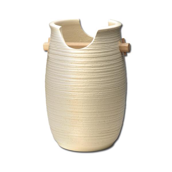 傘立て 信楽焼 陶器 インテリア オブジェ ベージュ 置物 玄関 高級 日本製【代引き不可】【メーカー直送品】【送料無料】手桶 G5-6502