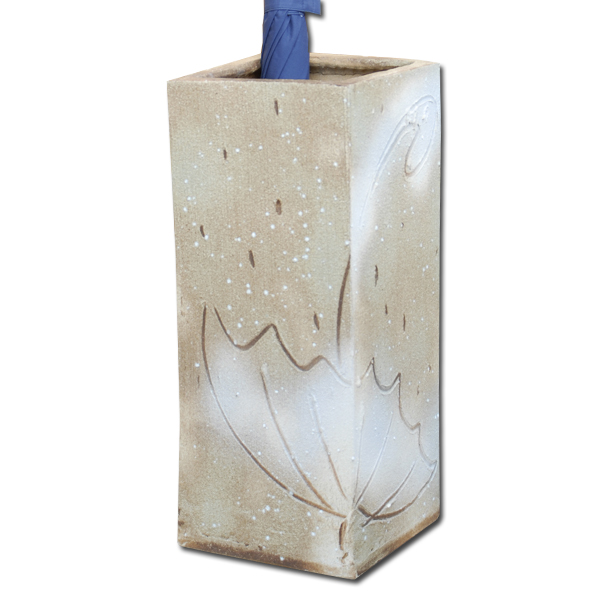 傘立て 信楽焼 陶器 インテリア オブジェ デザイン 傘 四角 ベージュ 置物 玄関 高級 癒し 日本製【代引き不可】【メーカー直送品】【送料無料】雨傘 G5-6710