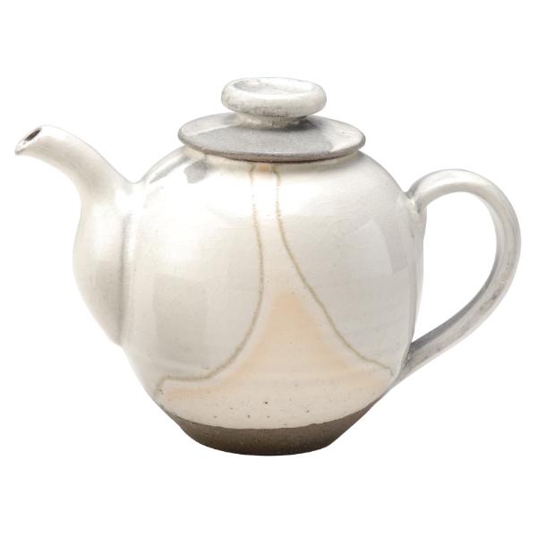 陶器 和風 ポット 後手 茶器 高級 和 モダン かわいい おしゃれ シンプル 信楽焼 日本製白水晶ポット G5-2712