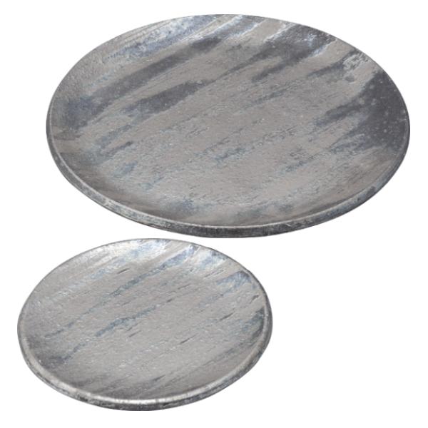 プレート 皿 大皿 盛皿 キッチン 食器 和 モダン スタイリッシュ おしゃれ シンプル 信楽焼 日本製銀彩刷毛 プレートセット G5-1401、G5-1402