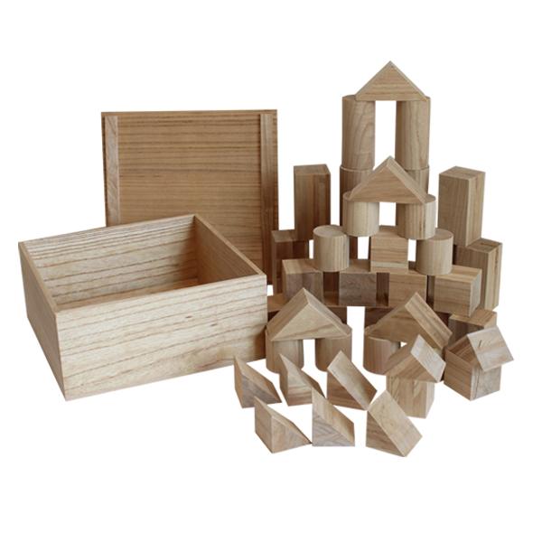積み木 日本製 木のおもちゃ 1歳 桐 無地 白木 新潟 知育玩具 木製 ブロック つみき 積木 無塗装 誕生日 プレゼント 安全【送料無料】KIRIY 積木 Type-45 大 43ピース