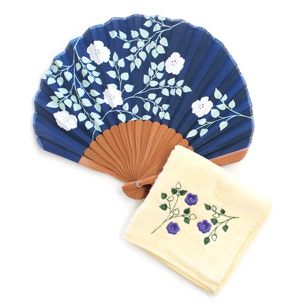 风扇妇女女士手毛巾和服配件和服礼物礼物母亲的一天工艺品大厅福娃风扇和蓬松的毛巾花海军 H10014-52