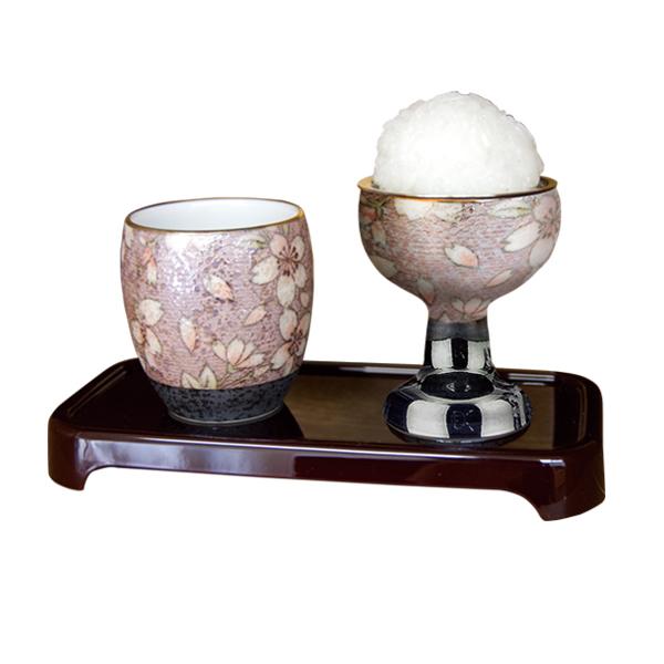 仏具 仏壇 有田焼 茶湯器 仏器 膳 磁器 花柄 日本製有田焼茶湯器・仏器セット (膳付) 桜ろまん