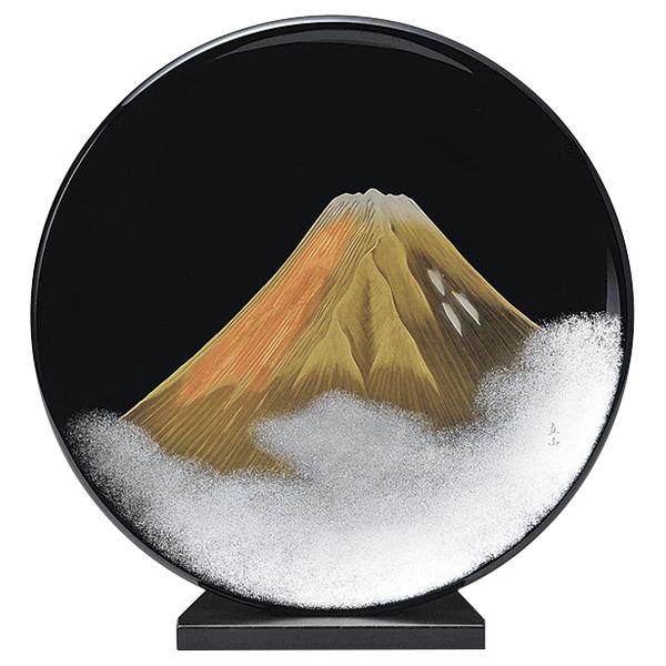 富士山 飾り皿 漆絵 おしゃれ ギフト 越前漆器 艶 上品 漆器 高級 日本製【送料無料】金富士 飾り皿スタンド付 黒 1013803