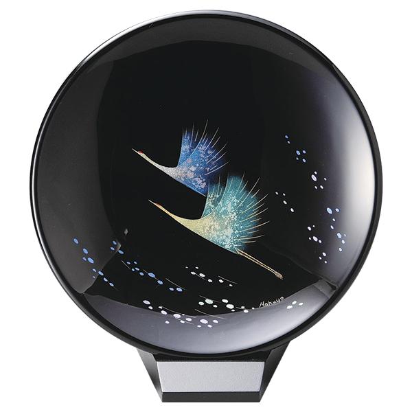 鶴 飾り皿 漆絵 おしゃれ ギフト 越前漆器 艶 上品 漆器 高級 日本製【送料無料】鶴 飾り皿(小)スタンド付 1013806