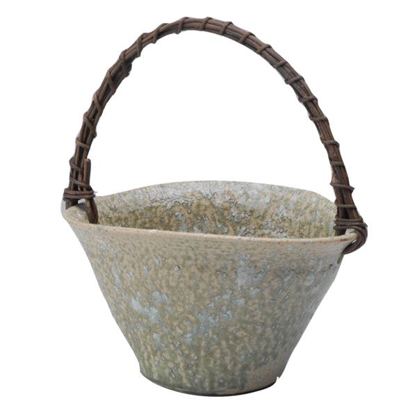 花瓶 花入 花器 焼物 シンプル 癒し インテリア おしゃれ プレゼント 日本製 信楽焼つる付 緑葉 G5-29-03