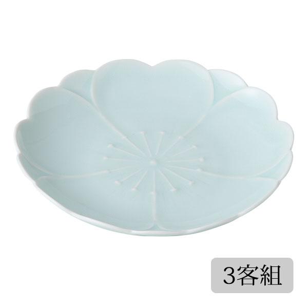 食器 皿 取皿 セット 青磁 かわいい おしゃれ プレゼント 贈り物 波佐見焼 磁器 日本製 さくら お取皿(青磁) 3客組 12097