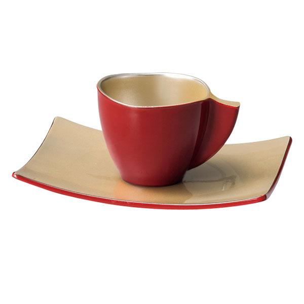カップ ソーサー セット コーヒー 珈琲 来客 越前漆器 うるし シンプル 上品 器 漆器 漆塗 手塗り おすすめ 日本製 いろららコーヒーセット 朱 10-05006