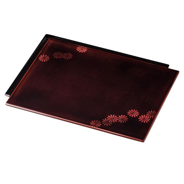 皿 器 盛皿 四角 木製 漆塗り 手塗り 越前漆器 上品 おすすめ 日本製 菊白檀 色紙盛皿 透溜 10-07003