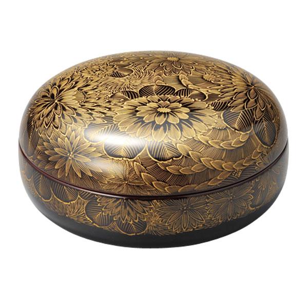 皿 器 菓子器 盛皿 越前漆器 木製 漆塗り 手塗り 沈金 上品 おすすめ 日本製 菊彫 菓子器 溜 10-07501