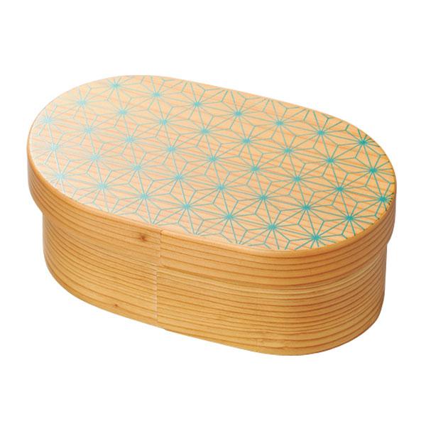 弁当 小判型 木製 越前漆器 上品 おすすめ 日本製 【送料無料】麻の葉 日本の弁当箱 小判 10-11503
