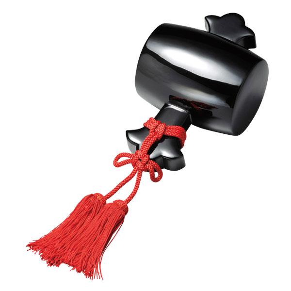 小槌 インテリア 調度 おすすめ おしゃれ 豪華 ギフト 越前漆器 木製 上品 漆塗 手塗 高級 日本製 打ち出の小槌 黒 10-13604