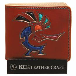 KC,s ケイシイズ 財布 サンタフェ ビルフォールド ココペリ 牛皮革 トカゲ革 KMB007 二つ折り財布 革財布 メンズ レディース KC,s leather craft ケーシーズ 日本製 本革 ブランド コンパクト [メーカー取り寄せ/在庫未確定商品][優れものA]