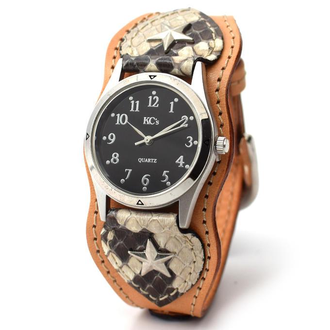 KC,s ケイシイズ 時計 ナッシュビル ウォッチブレス パイソン ニシキヘビ革 牛皮革 KIR515 メンズ レディース 腕時計 KC,s leather craft ケーシーズ 本革 ブランド [メーカー取り寄せ商品][優れものA]