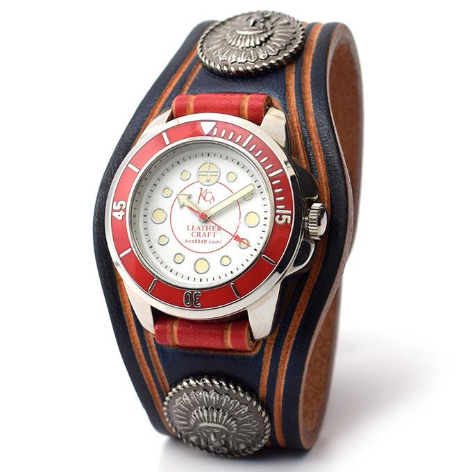 KC,s ケイシイズ 時計 ウォッチブレス スリーコンチョ チーフ ハンドスタンプ 牛革 KSR060 腕時計 ブレスレットウォッチ 革ベルト メンズ レディース KC'S ケイシーズ ケーシーズ 本革 ブランド [メーカー取り寄せ商品][優れものA]