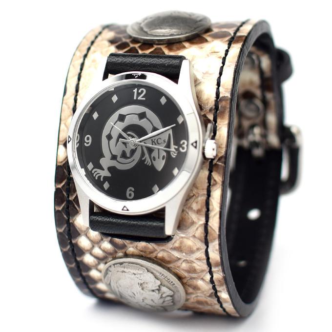 KC,s ケイシイズ 時計 ウォッチブレス ダブル バックル コンチョ パイソン ヘビ革 KSR528 腕時計 メンズ レディース KC,s leather craft ケーシーズ 本革 ブランド [メーカー取り寄せ商品][優れものA]