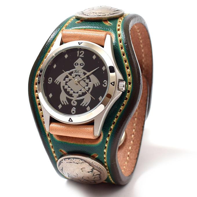 KC,s ケイシイズ 時計 スリーコンチョ ウォッチブレス スタンプ ツー 牛皮革 KSR507 腕時計 ブレスレットウォッチ 革ベルト メンズ レディース KC,s leather craft ケーシーズ 本革 ブランド [メーカー取り寄せ商品][優れものA]