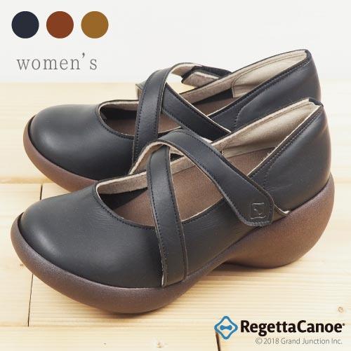 《10%OFFクーポン SALE》 リゲッタ カヌー レディース シューズ 歩き やすい パンプス 靴 クロスベルト アシンメトリー ウェッジソール 5.5cm ヒール ベルクロ ストラップ パンプス 日本製 大人可愛い コンフォートシューズ 健康