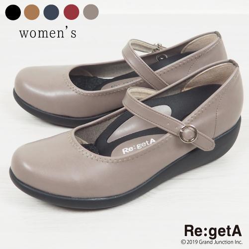 《10%OFFクーポン SALE》 リゲッタ パンプス レディース 靴 5cmヒール 履きやすい 疲れにくい 痛くない 走れる 歩きやすい ウェッジソール ベルト ストラップ コンフォートシューズ フォーマル カジュアル 仕事用 ラウンドトゥ R19001