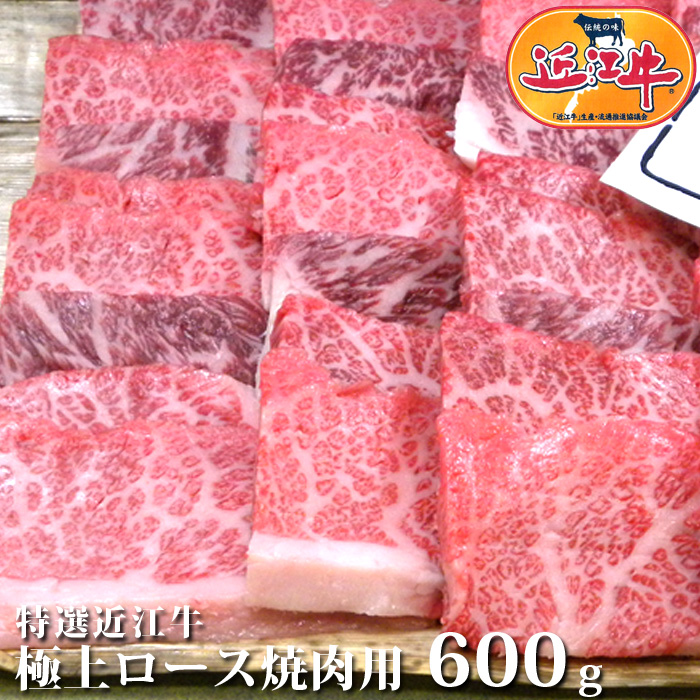 送料無料特選 近江牛 極上 ロース 焼肉 用 600g松阪牛 神戸牛 と並ぶ 黒毛和牛国産牛 牛 牛肉 肉 黒毛和牛送料無料 お祝い