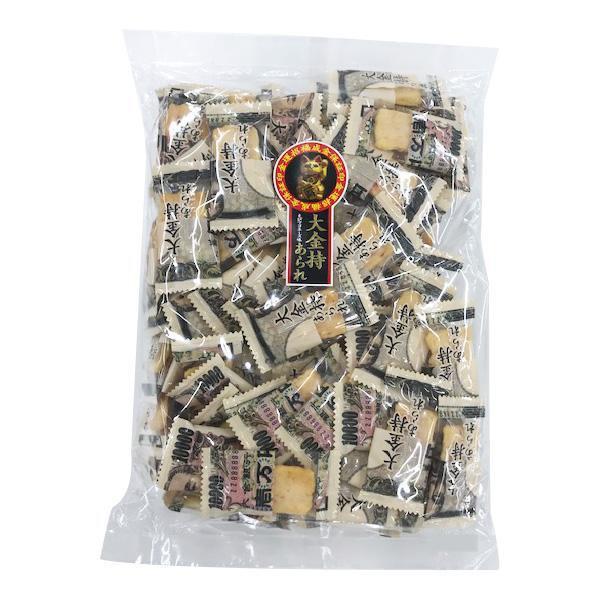 1万円札デザインのパッケージに入ったおかき 注文後の変更キャンセル返品 大金持ちあられ 300g×8袋 直送 受注生産品 A-13 送料無料