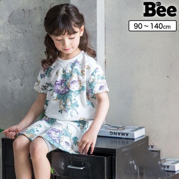 韓国 子供服 セット スカート 韓国子供服 韓国子ども服 韓国こども服 Bee カジュアル ナチュラル キッズ カラバリ 女の子 130 花 100 夏 90 春 120 140 おトク 日本製 110 総柄セットアップ 半袖 スカッツ