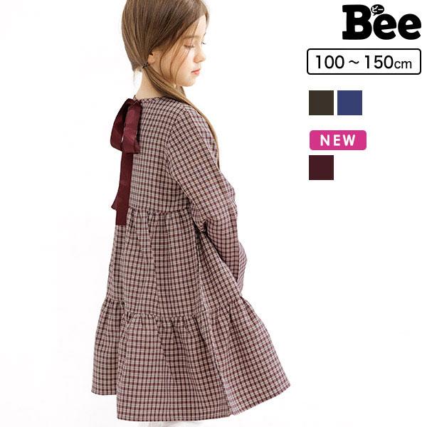 Bee 本物 ワンピース キッズ ジュニア 子供服 ファッション 韓国子供服 韓国子ども服 韓国こども服 女の子 ナチュラル シンプル 長袖 切替 100 140 長袖ワンピース ワンピ リボン 贈呈 120 春 150 秋 130 ティアード 110