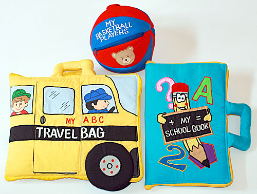 布絵本MY ABC TRAVEL BAG/SCHOOL BUS&MY SCHOOL BOOK英語刺しゅう絵本&おまけ付きバスケットプレイヤーズプレイ&ラーン