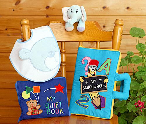 布絵本MY SCHOOL BOOK&MY QUIET BOOK ベアブルー&おまけ付きおしゃれなビブ&ふわふわぬいぐるみファンタイムギフトセット知能開発レッスンブック幼児教育英語教育選んで!!無料ギフトラッピング