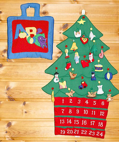 クリスマス布絵本布のアドベント カレンダー壁掛け クリスマスツリーボタンかけオーナメント24個付き&my ABC バッグメリークリスマス ギフトセット2点組み幼児教育選んで!! 無料ギフトラッピング