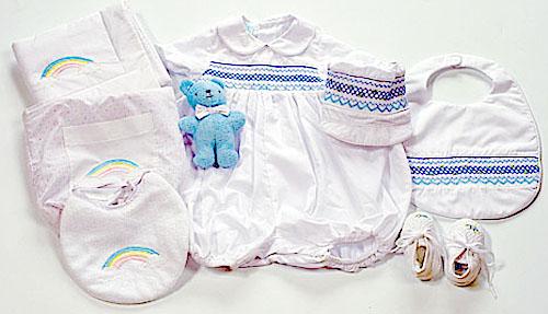 ベビードレススモッキングドレスご出産祝いベビーロンパース&ベビーズバッグスモッキングロンパースボーイ0~3M赤ちゃんお誕生おめでとうギフトセット選んで!!無料ギフトラッピング