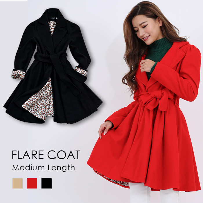 It is a celebrity adult for 40 generations for 30 generations for office M L 20 generations in spring in flare coat Lady's coat jacket Shin pull basic outer hail pattern レオパードヒョウ pattern black black red beige medium length female office worker fall and w
