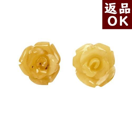 【月1回までお客様都合の返品送料も無料!】琥珀 イヤリングへの交換可能 ピアス ロイヤルアンバー 乳白琥珀 薔薇 バラ ばら ローズ お花 フラワー K18
