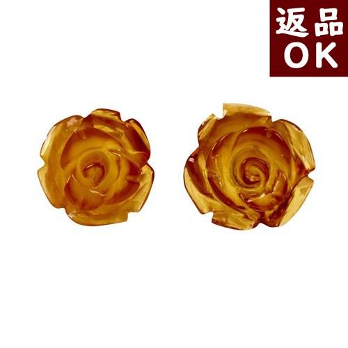 【月1回までお客様都合の返品送料も無料!】琥珀 イヤリングへの交換可能 ピアス イエローアンバー 薔薇 バラ ばら ローズ お花 フラワー K18