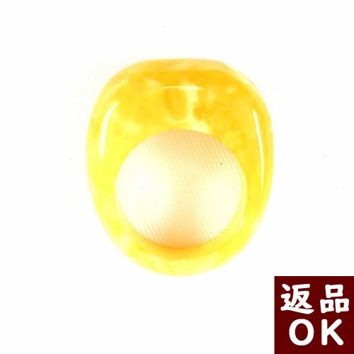 【月1回までお客様都合の返品送料も無料!】琥珀 リング 指輪 ロイヤルアンバー 乳白琥珀 バタースコッチ バルト産 17号 くり抜きタイプ