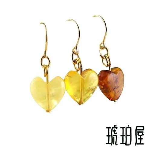 Royal Amber Earrings Heart Honey Cherry Red
