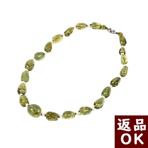 【お客様都合の返品送料も無料!】真珠 ネックレス 琥珀 カリビアングリーンアンバ 50cm 【一点物】