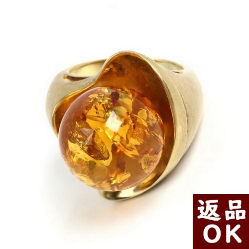 【お客様都合の返品送料も無料!】琥珀 K18リング 指環 イエローアンバー 11号 バルト産 【一点物】