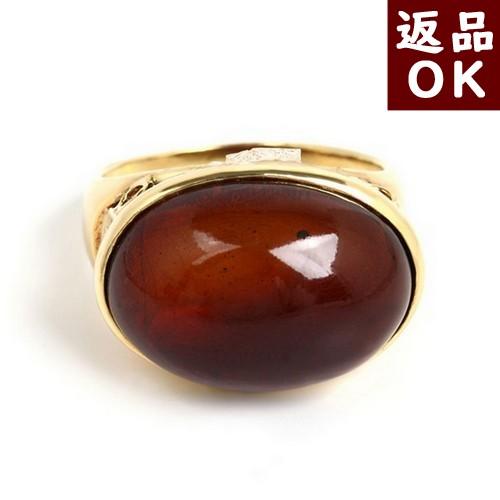 【20%OFF&ポイント5倍】琥珀 リング 指環 K18 チェリーレッドアンバー 赤 楕円 12号 バルト産  一点物 ワインカラー 一点物 琥珀屋 レディース 女性用逸品