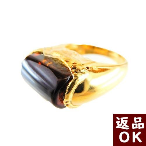 【お客様都合の返品送料も無料!】琥珀 K18リング 指輪 メキシコ産チェリーレッドアンバー 赤 12号 【一点物】 ワインカラー