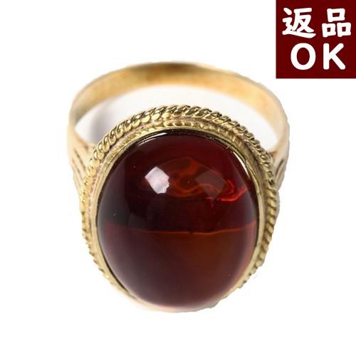 【お客様都合の返品送料も無料!】琥珀 指輪 K18リング 11.5号 チェリーレッドアンバー 赤 メキシコ産 【一点物】 ワインカラー