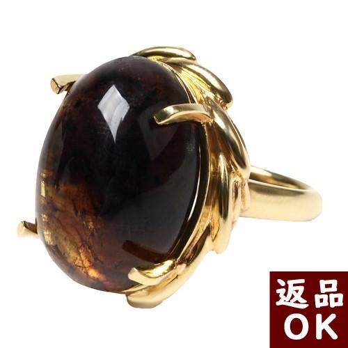 【お客様都合の返品送料も無料!】ブルーアンバー ドミニカ産 琥珀 指輪 K18リング 楕円 12号   カボション 【一点物】